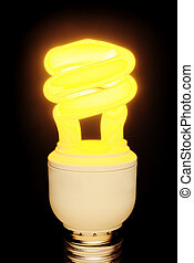 Lit up CFL on black - Lit up CFL light bulb isolated on...