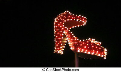 Lit up high heel shoe in Las Vegas
