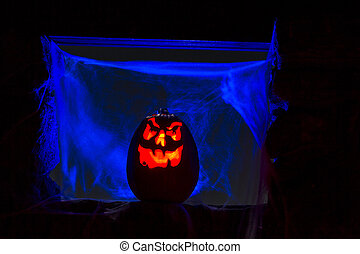 lit vela, halloween, calabazas
