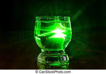 lit, verre, vert, liquide