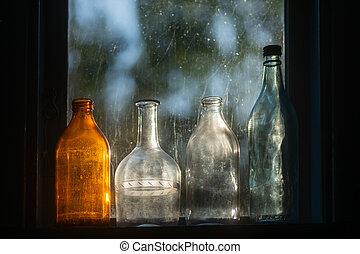 lit, vidrio embotella, espalda