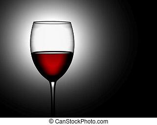lit, vidrio, iluminar desde el fondo, vino