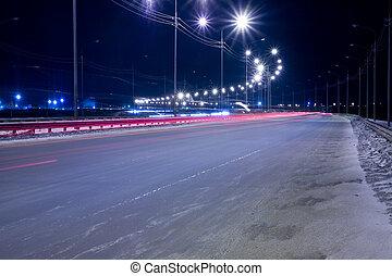 lit, virage, lanternes, vide, nuit, route