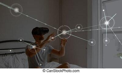 lit, virtuel, casque à écouteurs, porter, séance homme, réalité