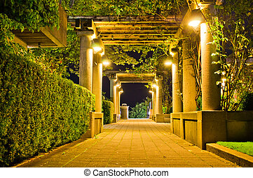 Lit walkway at night