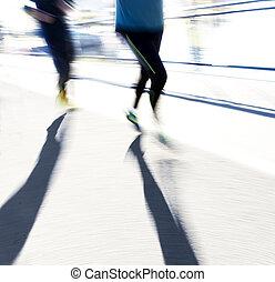 lit, zwei, jogger, zurück