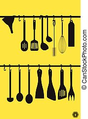 A collection kitchen utensils hanging on the chromed bar. Illustration