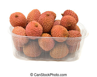 Litchi in the plastic box, isolated on white background.