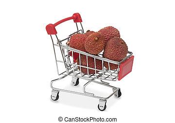 litchiplommon, supermarket, kärra