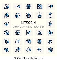 Lite Coin Crypto icons set