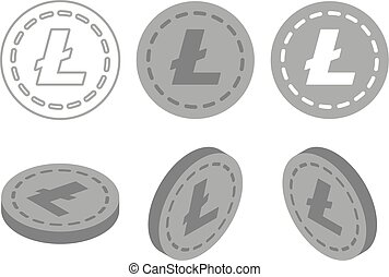 Set of icons coins on the isolated white background.