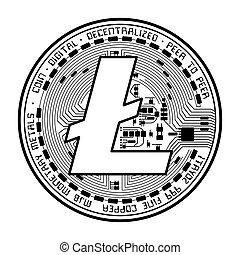 Litecoin coin black silhouette - Black coin with litecoin...