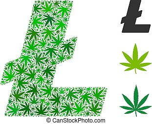 Litecoin Collage of Cannabis - Litecoin composition of hemp...