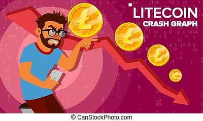 Litecoin Crash Graph Vector. Surprised Investor. Negative...