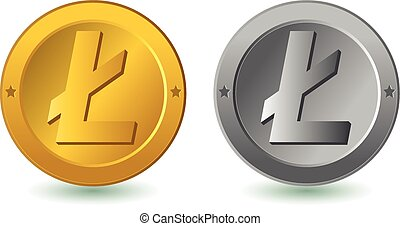 Litecoin digital coin vector illustration. Gold and silver...