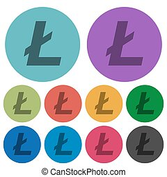 Litecoin digital cryptocurrency color darker flat icons