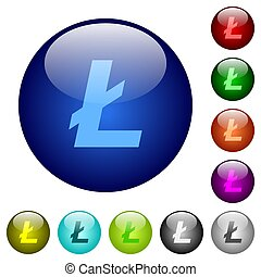 Litecoin digital cryptocurrency color glass buttons