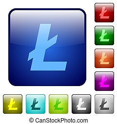 Litecoin digital cryptocurrency color square buttons