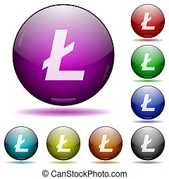 Litecoin digital cryptocurrency icon in glass sphere buttons