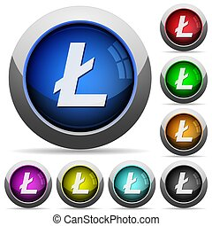 Litecoin digital cryptocurrency round glossy buttons
