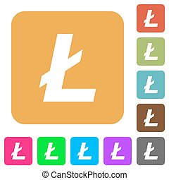 Litecoin digital cryptocurrency rounded square flat icons