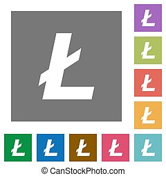 Litecoin digital cryptocurrency square flat icons