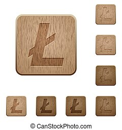 Litecoin digital cryptocurrency wooden buttons