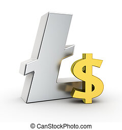 Litecoin exchange rate - Metallic Litecoin symbol with small...