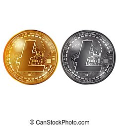 Litecoin gold and silver coins - Golden and silver coins...