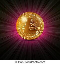 Litecoin golden coin - Golden coin with litecoin...