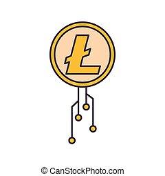 Litecoin icon, cartoon style