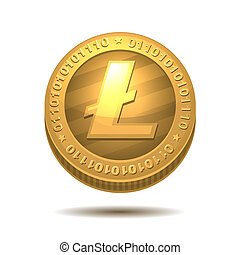 Litecoin isolated on white - Litecoin money isolated on...