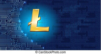 Litecoin on binary code background and electronic circuit -...