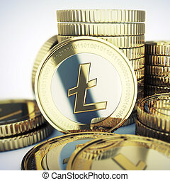 litecoin, pièces, illustration, doré
