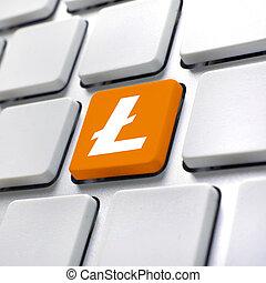 litecoin, symbool, op, computer toetsenbord