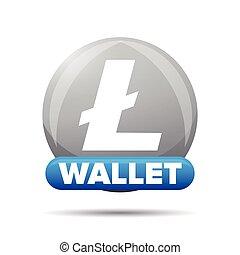 Litecoin wallet button sign vector