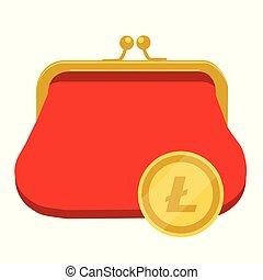 Litecoin wallet concept. Golden litecoin coin red purse