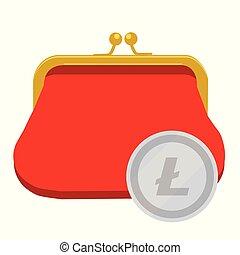 Litecoin wallet concept. SIlver litecoin coin red purse