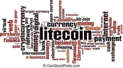 Litecoin word cloud concept. Vector illustration