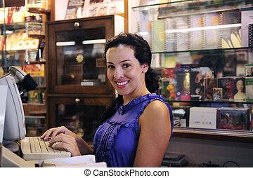 liten, ägare, bokhandel, business/