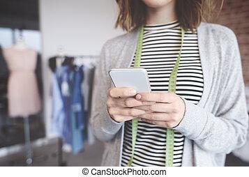 liten, ägare, text, affär, messaging