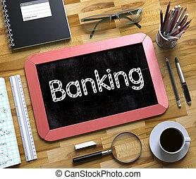 liten, bankrörelse, concept., 3d., chalkboard