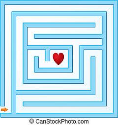 liten, blå, labyrint