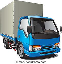 liten, blå, lastbil