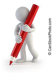 liten, blyertspenna, 3, -, folk