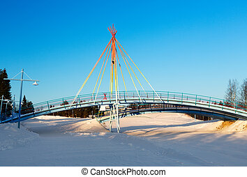 liten, bro, landskap, vinter, bakgrund