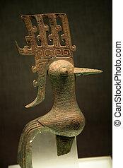 liten, brons, fågel, sanxingdui, museum, chengdu, sichuan,...