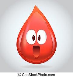 liten droppe, 3, tecken, blod, maskot