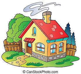 liten, familj, hus