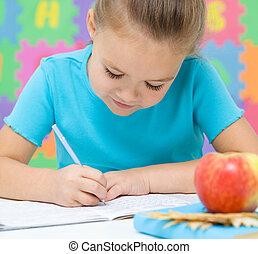 liten flicka, är, skrift, användande, a, penna
